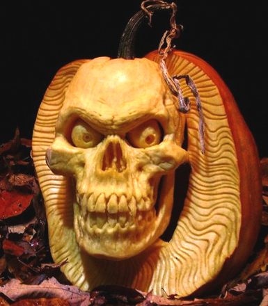 Scary Skull Pumpkin Photo Source