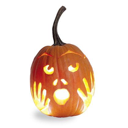 Cute Scared Carved Pumpkin Photo Source
