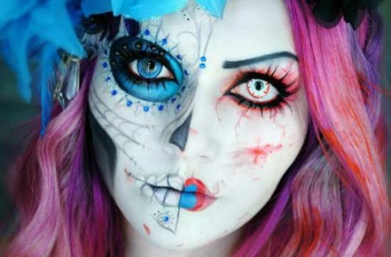 pink-blue-halloween-Makeup-ideas-women-1
