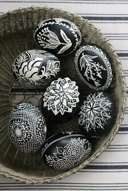 Black and White Easter Eggs Photo Source