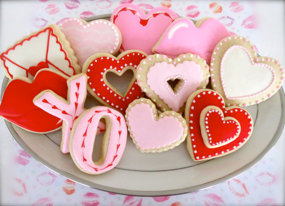 Valentine's Day Cookies on Etsy