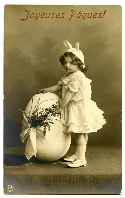 Vintage Easter Little Girl Holding Egg Photo Source