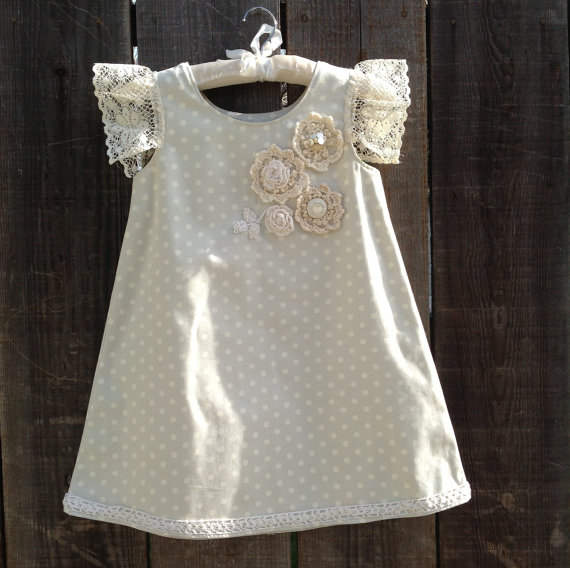 Easter girl dress. Spring Polka dot dress. Pastel dress. Vintage crochet dress. Size 5-6 Purchase Here