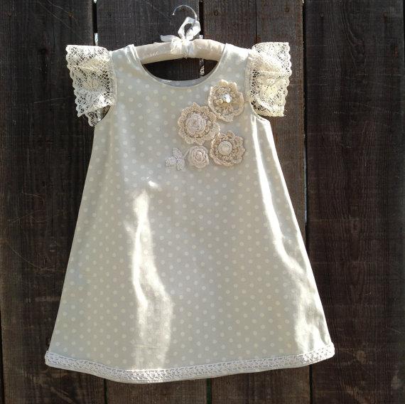 Easter girl dress. Spring Polka dot dress. Pastel dress. Vintage crochet dress. Size 5-6 Purchase Here