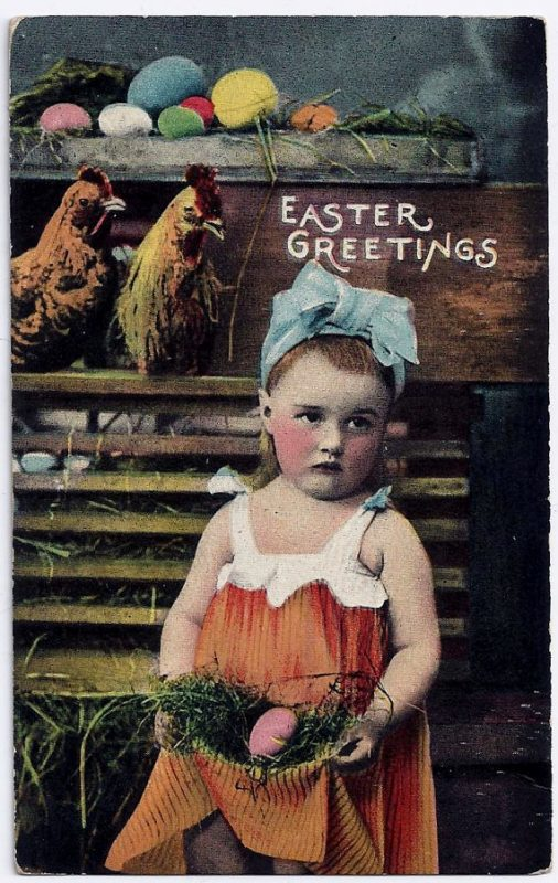 Antique Easter Postcard Easter Greetings Little Girl Chickens Eggs Pink Green Blue Tinted Photo 1910's Purchase Here