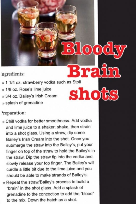 Recipe for Bloody Brain Shots