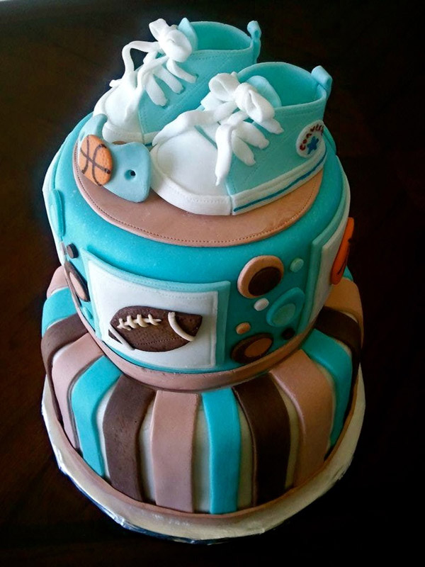 baby shower cakes for boys sports blue baby shoes cake from