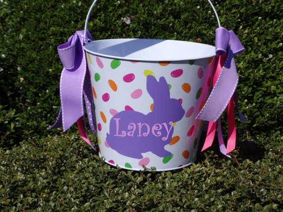 personlized metal basket pails easter