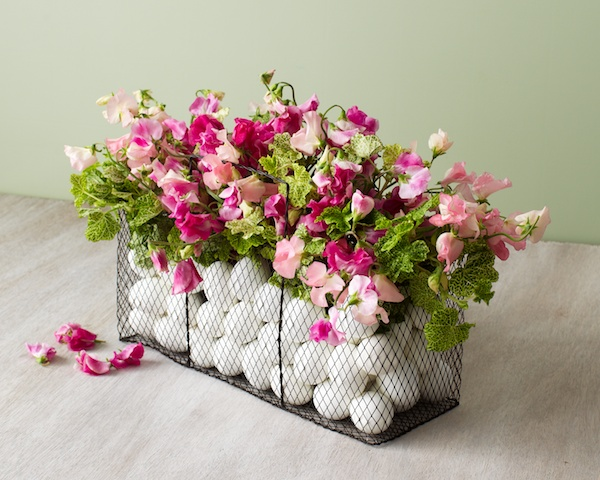 Vintage Floral Wire Basket with Eggs Photo Source