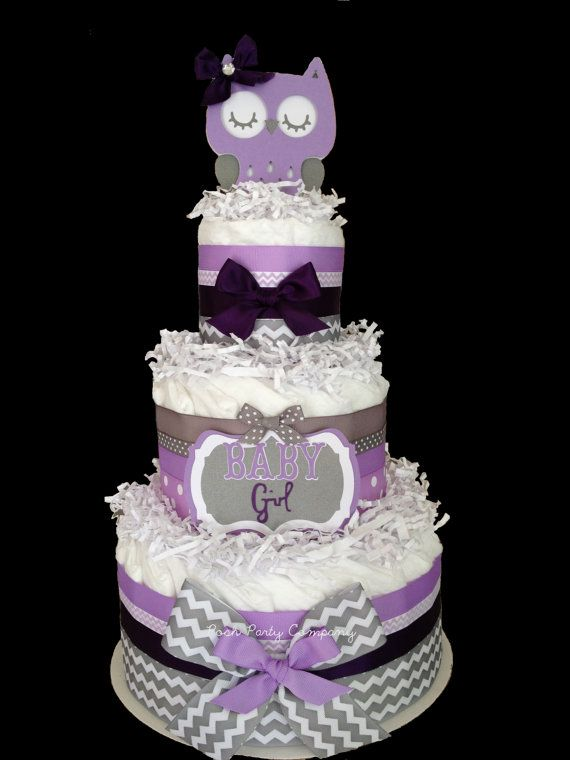 purple owl baby shower decorations purple diaper cake purchase