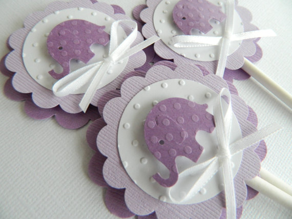 Baby Shower Purple Edible Cupcake Toppers Decoration