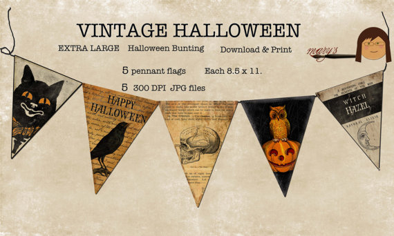 Halloween Bunting Pennant Flags Purchase on Etsy