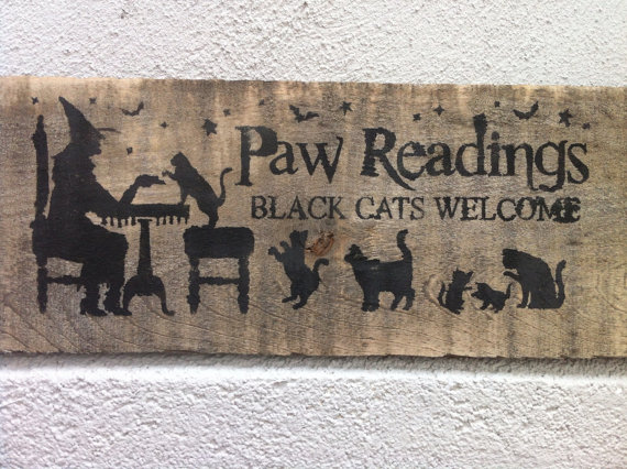 Halloween sign paw readings sign black cat sign primitive wood Purchase on Etsy