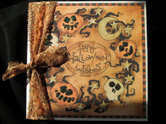Halloween Greeting Card Handmade Gorgeous Glittery Unique Vintage Style Gothic Pumpkin and Skull Wreath Purchase on Etsy!