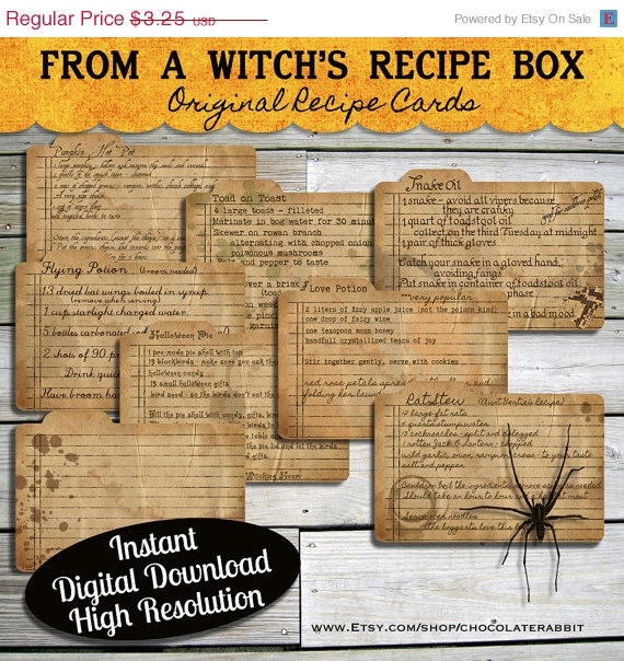Halloween Witch Recipe Cards Instant Digital Download Vintage Style Collage Sheet Printable Scrapbook Image Clip Art Purchase on Etsy!