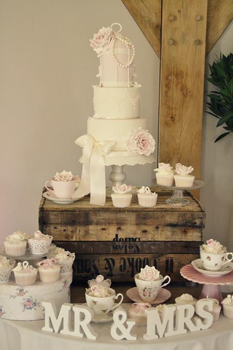 Beautiful set up to show off your vintage shabby chic wedding cake. Picture found on Pinterest.