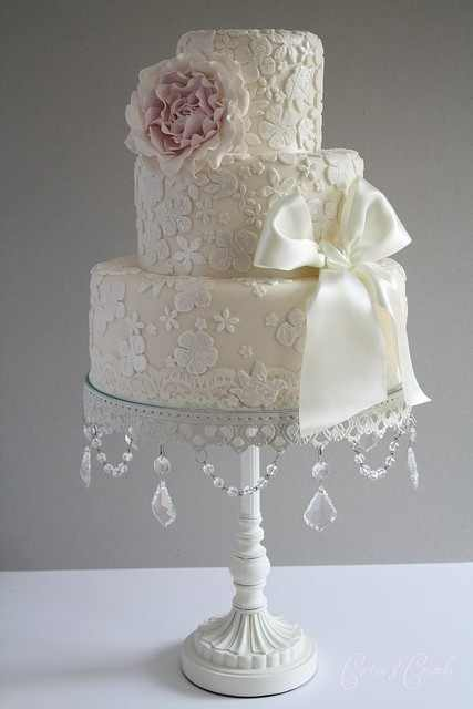 Beautiful Lace and Diamond Wedding Cake Found on Pinterest