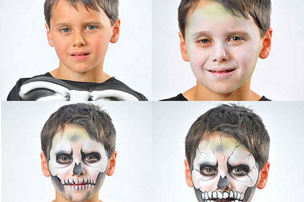 halloween-makeup-ideas-kids-boy-skull-black-white-steps
