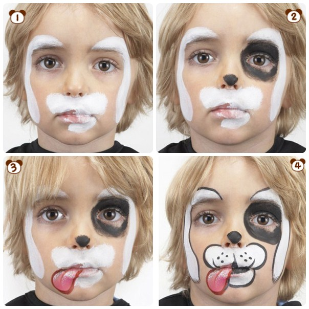 halloween-makeup-ideas-kids-boy-white-puppy-step-by-step