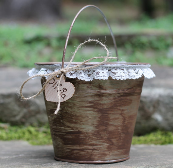 Shabby Chic Rustic Flower Girl Bucket Purchase Here