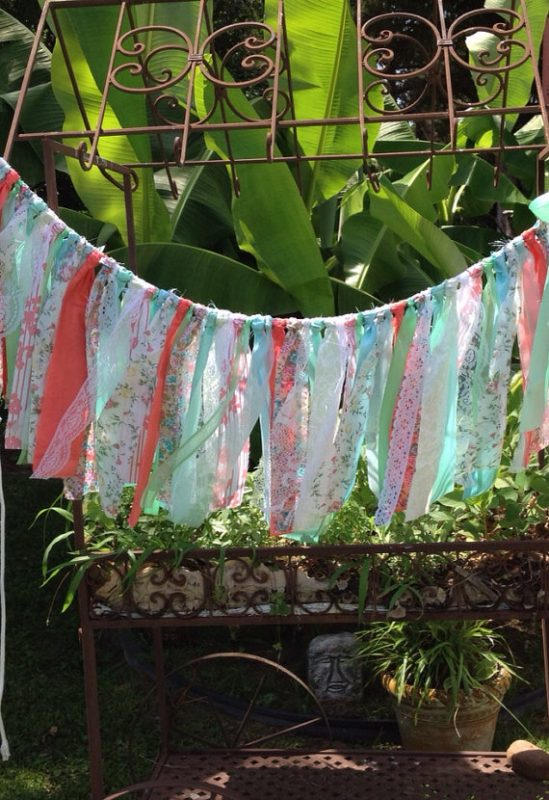 Coral Mint and Tiffany Blue Fabric Garland by Changes by Neci