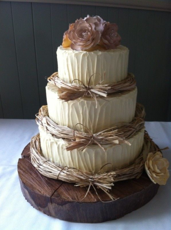 Rustic Shabby Wedding Cake By Wed Me Pretty
