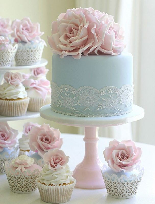 light blue shabby chic cake and cupcakes