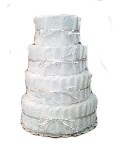 white diaper cake