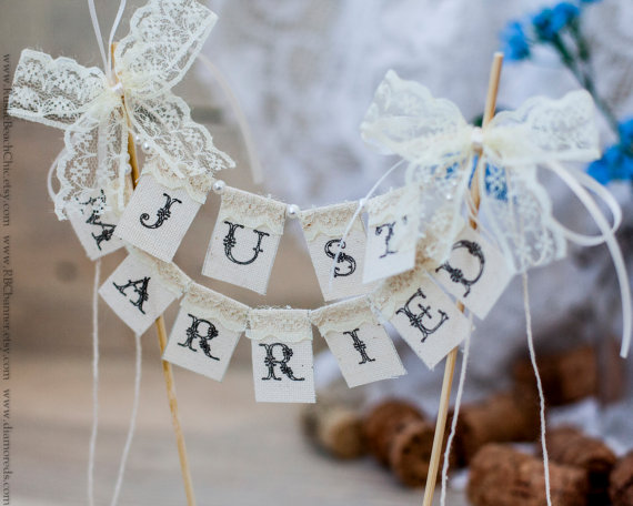 """""""Just Married"""" Cake Toppers Purchase on Etsy"""