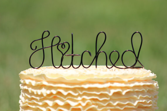 """""""Hitched"""" Wedding Cake Topper Purchase on Etsy"""