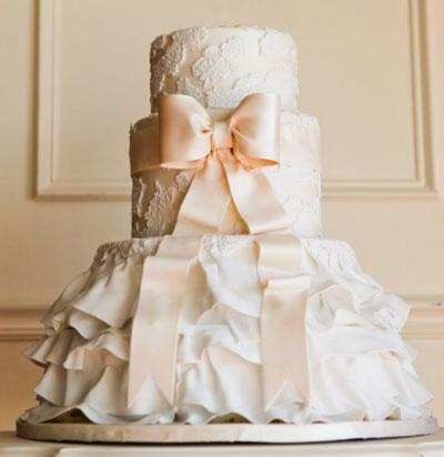 beautiful Ribbon wedding cake
