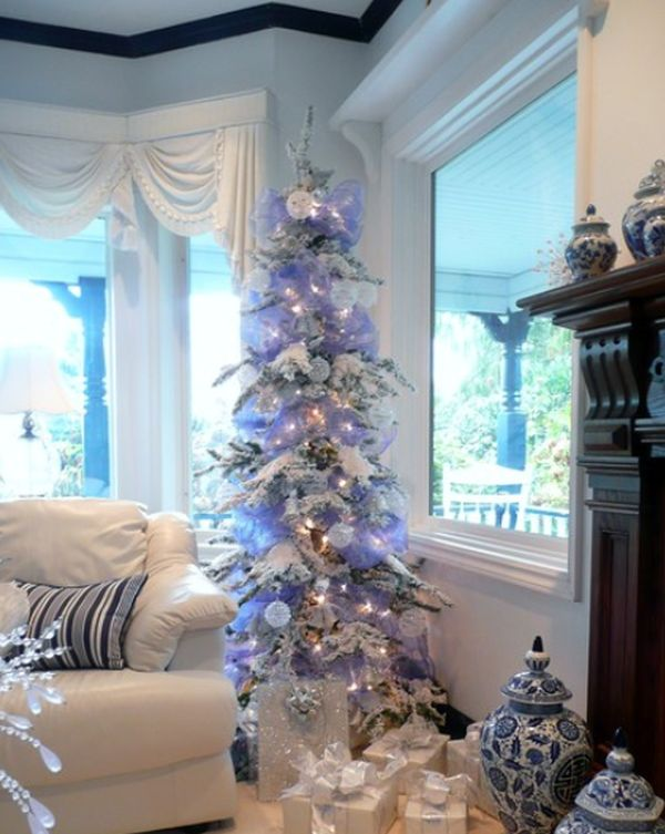 White christmas tree with blue and green decorations - photo#19