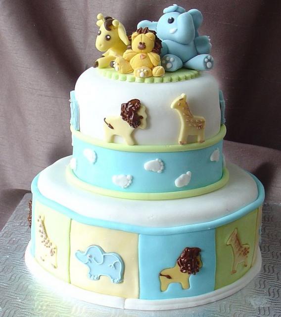 Cute jungle animals baby shower cake