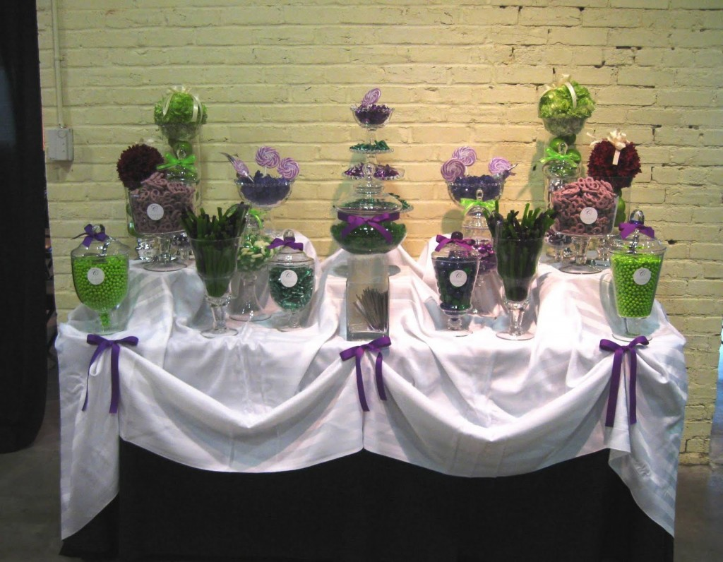 purple and green candy buffet