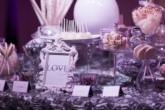 beautiful purple candy buffet