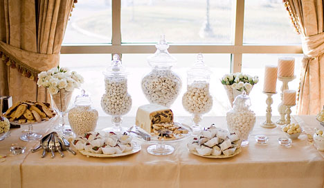 white candy buffet at party