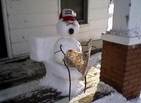 snowman on toilet