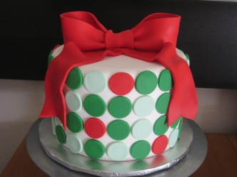 green and red polka dots