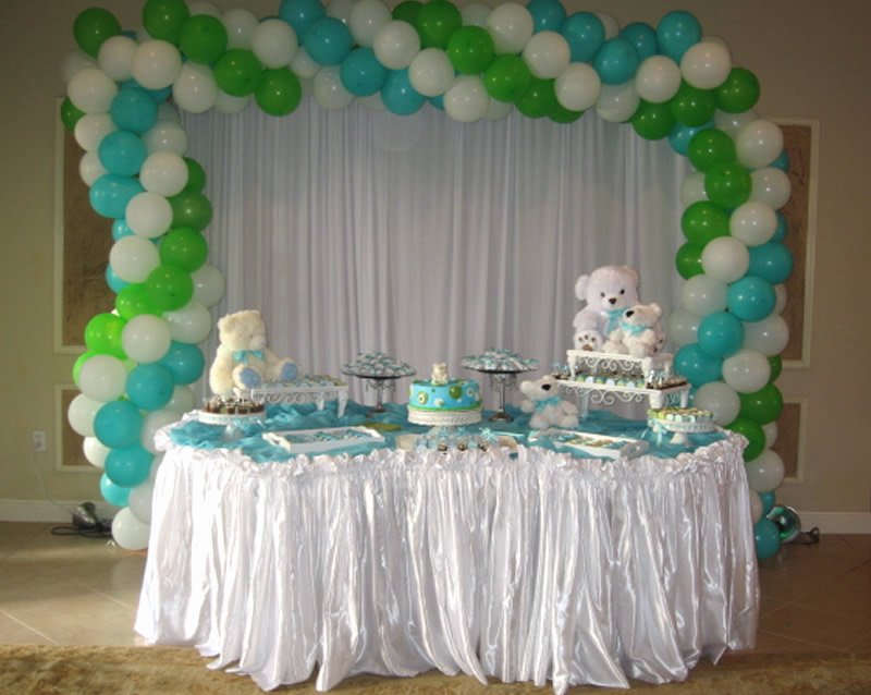 white and blue baby shower