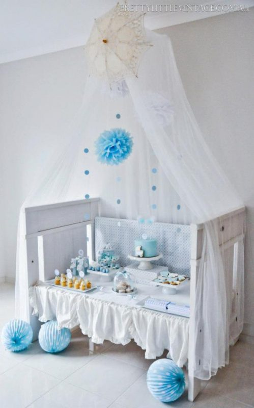 Planning a color themed white baby shower time for the for Baby cot decoration ideas