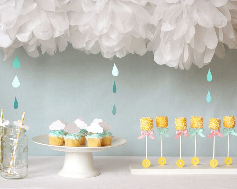 white baby shower decorations