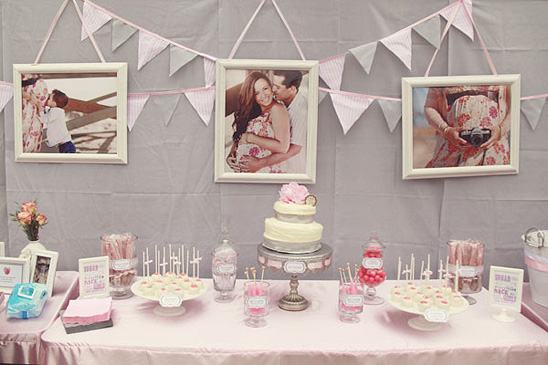 white and pink baby shower