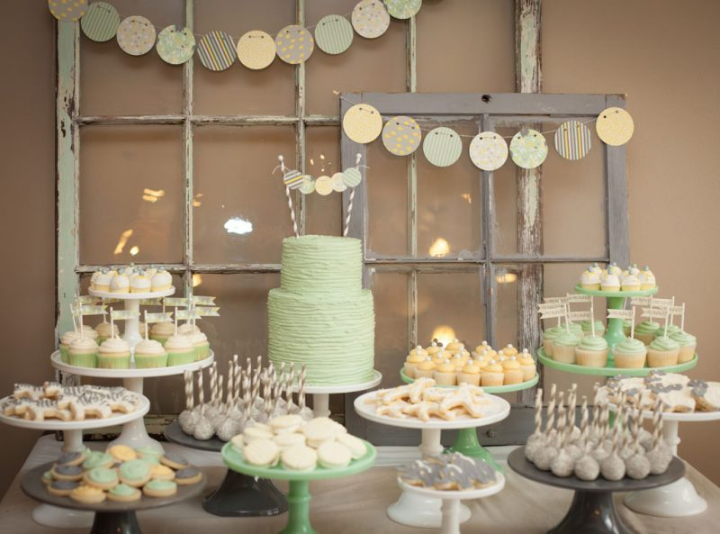 pastel colored baby shower