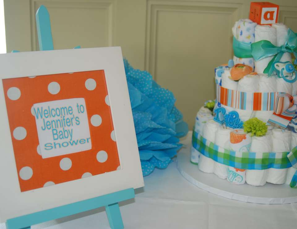 turquoise and orange baby shower decorastions