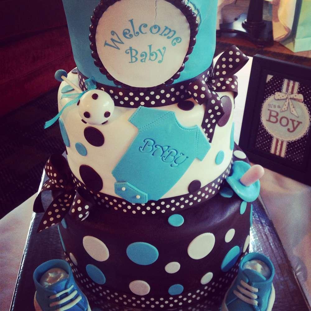 baby boy turquoise cake