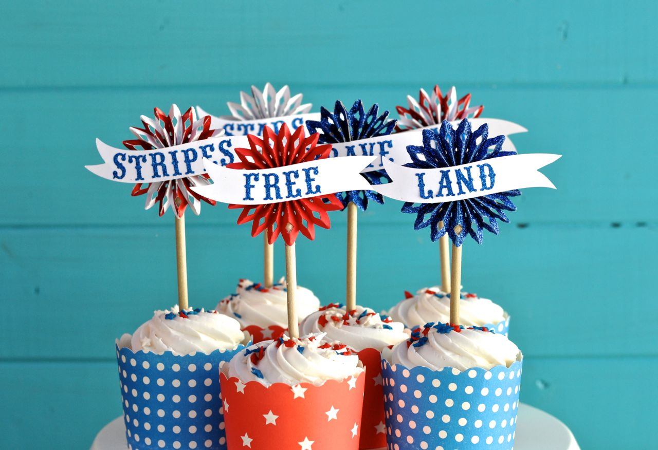 Fourth-of-July-Cupcake-Toppers-Using-Sizzix-Big-Shot