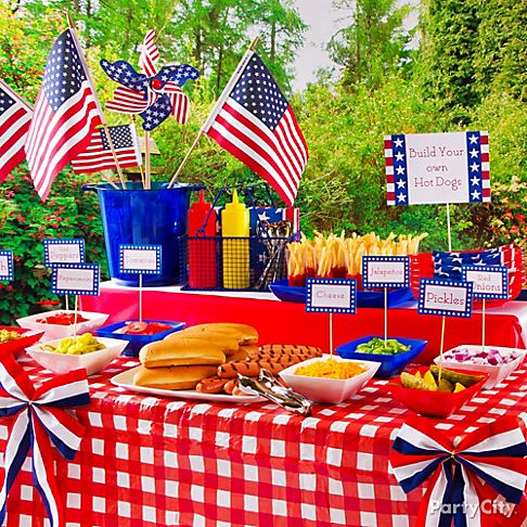 4th of july party decorations and foods