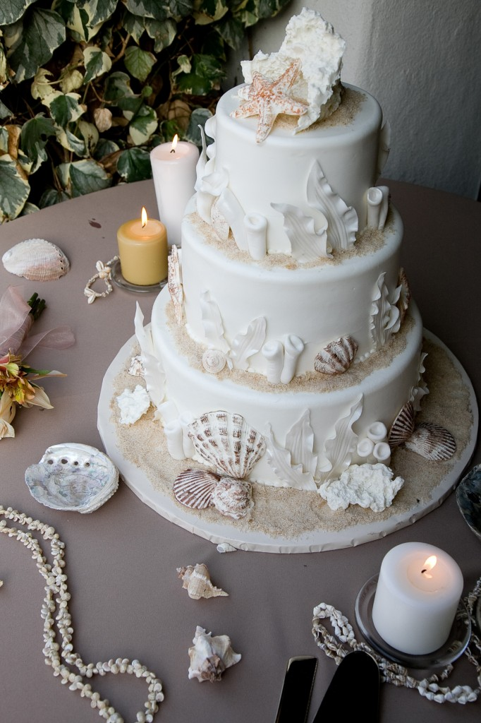 wedding cake with faux shells