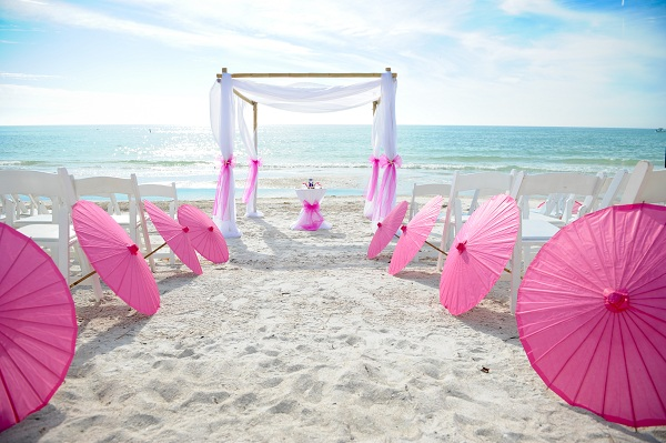 pink beach wedding