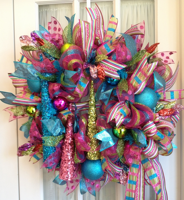 Deco Mesh Christmas Wreaths Pink Lime Blue Colorful
